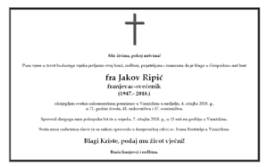 Osmrtnica fra Jakova Ripića